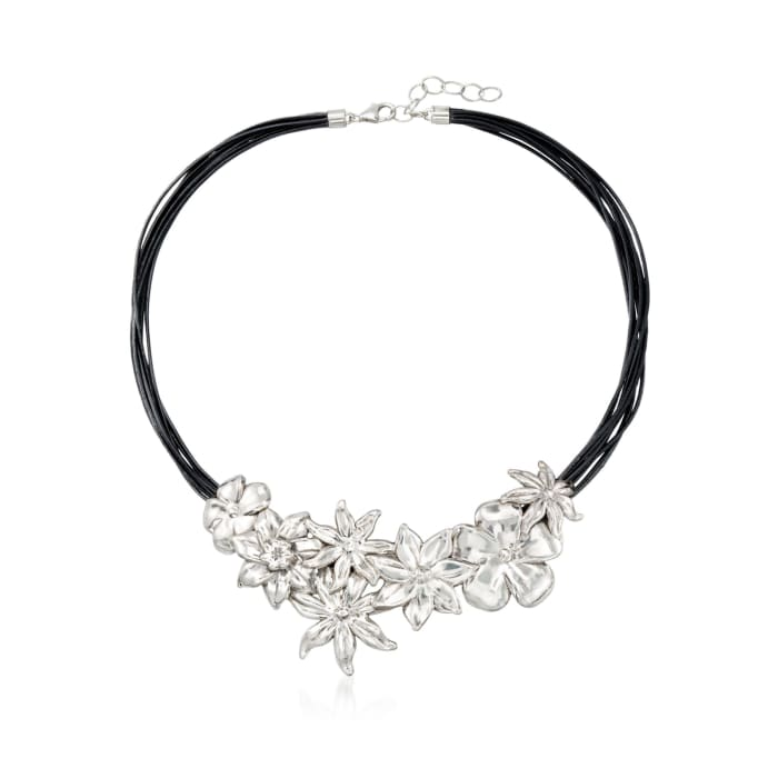 Sterling Silver and Black Leather Floral Necklace