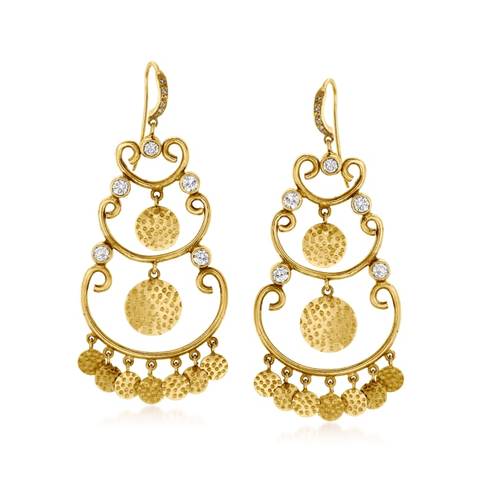 C. 1970 Vintage 1.00 ct. t.w. Diamond Chandelier Earrings in 18kt Yellow Gold