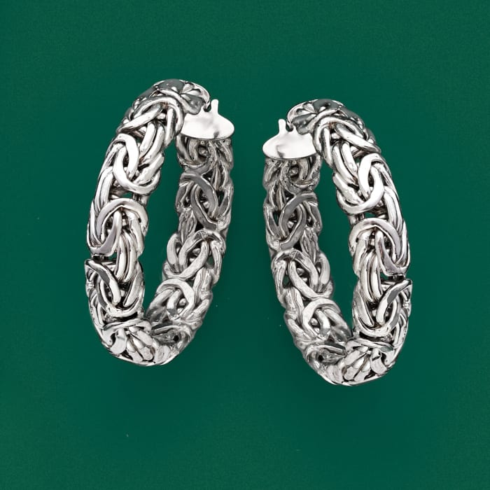 Sterling Silver Medium Byzantine Hoop Earrings