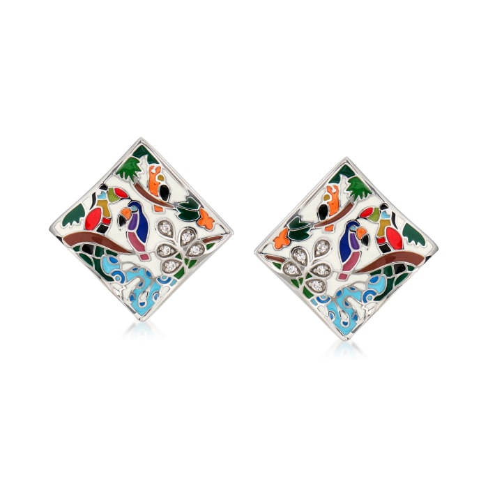 """Belle Etoile """"Tropical Rainforest"""" Ivory and Multicolored Enamel Earrings with .10 ct. t.w. CZs in Sterling Silver"""