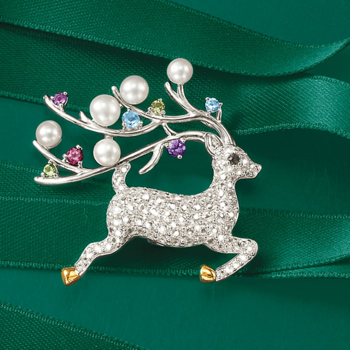 Cultured Button Pearl and 1.63 ct. t.w. Multicolored Multi-Stone Reindeer Pin Pendant in Sterling Silver and 14kt Gold