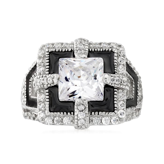 5.91 ct. t.w. CZ Art Deco Ring with Black Enamel in Sterling Silver