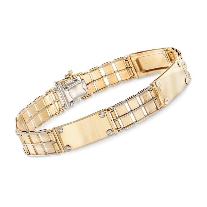 Men's 14kt Two-Tone Gold Link Bar Bracelet