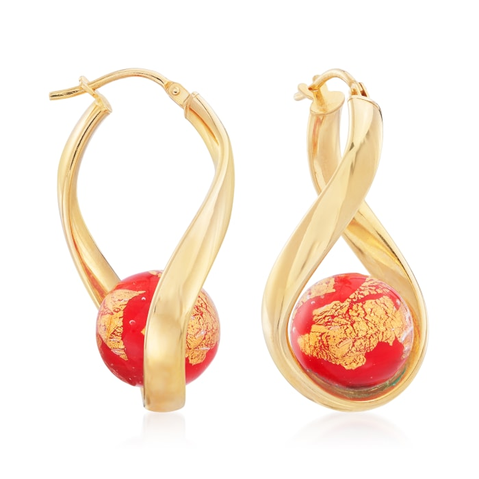 Italian Red Murano Glass Bead Twisted Hoop Earrings in 18kt Gold Over Sterling