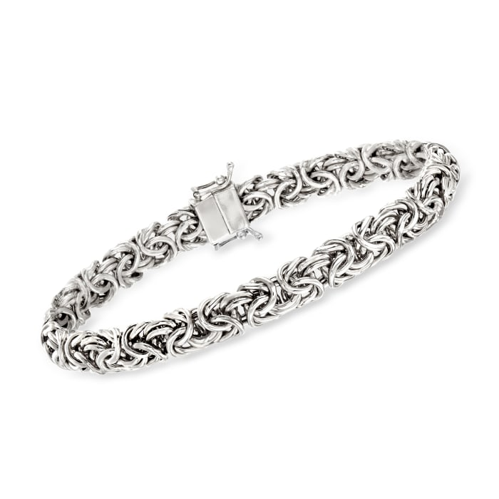 Sterling Silver Small Byzantine Bracelet with Magnetic Clasp