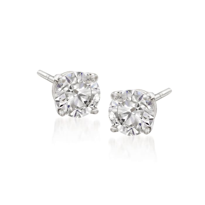 6.00 ct. t.w. CZ Jewelry Set: Three Pairs of Stud Earrings in 14kt White Gold
