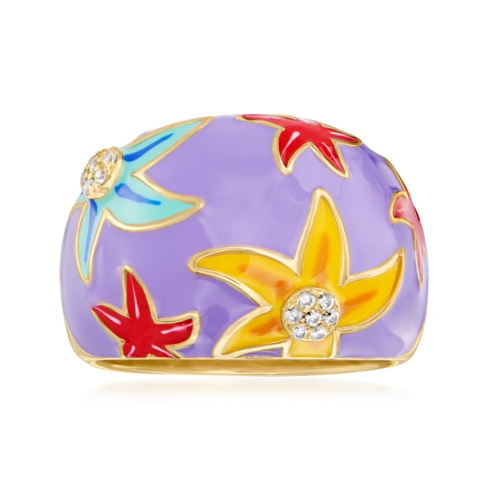 Multicolored Enamel Starfish Ring with White Topaz Accents in 18kt Gold Over Sterling