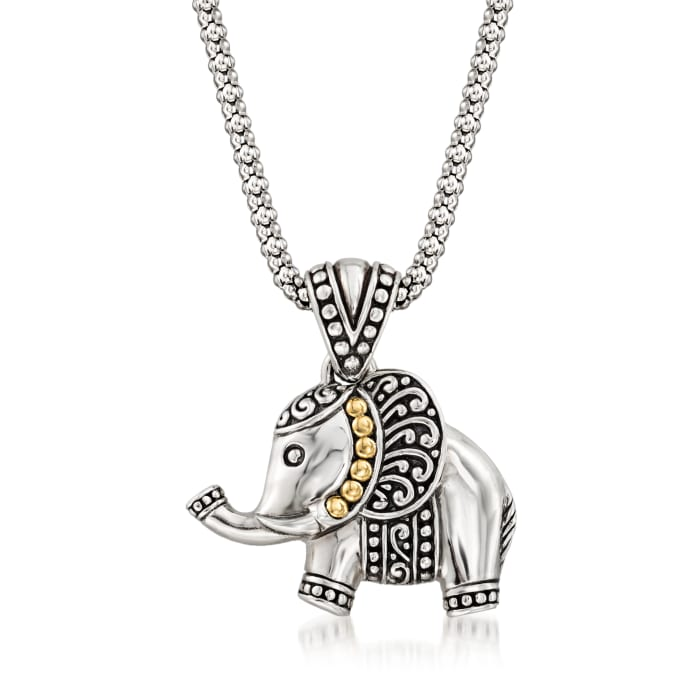 Sterling Silver with 18kt Yellow Gold Bali-Style Elephant Pendant Necklace