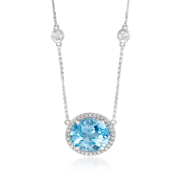 5.50 Carat Blue Topaz and .16 ct. t.w. Diamond Necklace with .80 ct. t.w. White Sapphire Stations in 14kt White Gold