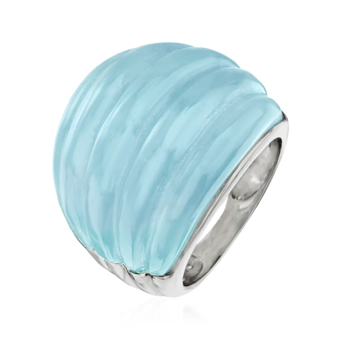 30.00 Carat Milky Aquamarine Dome Ring with Sterling Silver