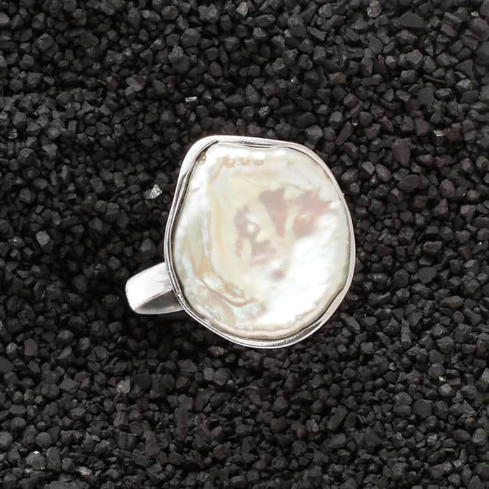 20x16mm Cultured Keshi Pearl Ring in Sterling Silver