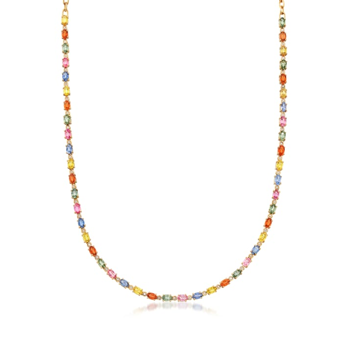 15.10 ct. t.w. Multicolored Sapphire and .36 ct. t.w. Diamond Necklace in 14kt Yellow Gold