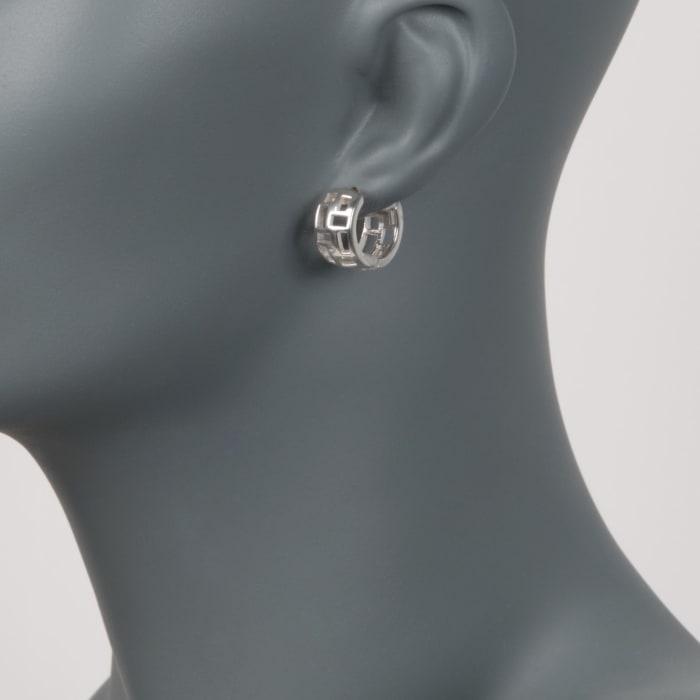 """Zina Sterling Silver """"Windows"""" Huggie Hoop Earrings"""