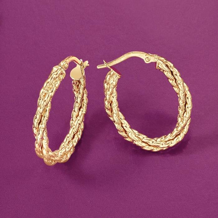 Italian 14kt Yellow Gold Twisted Oval Hoop Earrings