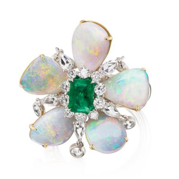 Opal, 1.10 Carat Emerald and 1.83 ct. t.w. Diamond Flower Ring in 18kt Two-Tone Gold
