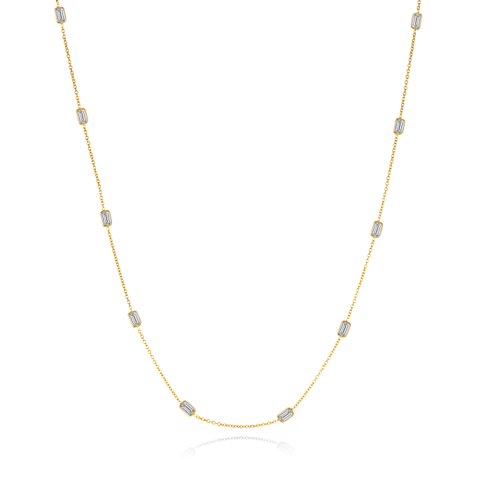 2.50 ct. t.w. Diamond Station Necklace in 14kt Yellow Gold