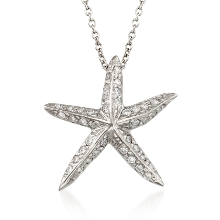 "Roberto Coin ""Tiny Treasures"" .16 ct. t.w. Diamond Starfish Necklace  in 18kt White Gold"