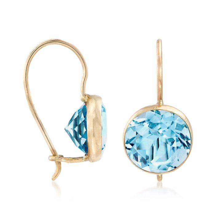 4.20 ct. t.w. Blue Topaz Drop Earrings in 14kt Yellow Gold