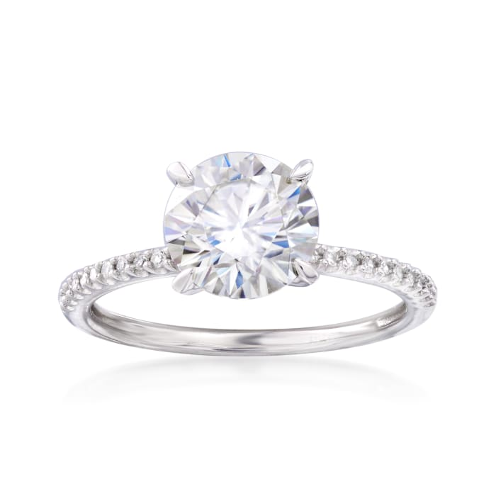 1.90 Carat Moissanite Solitaire and .11 ct. t.w. Diamond Engagement Ring in 14kt White Gold
