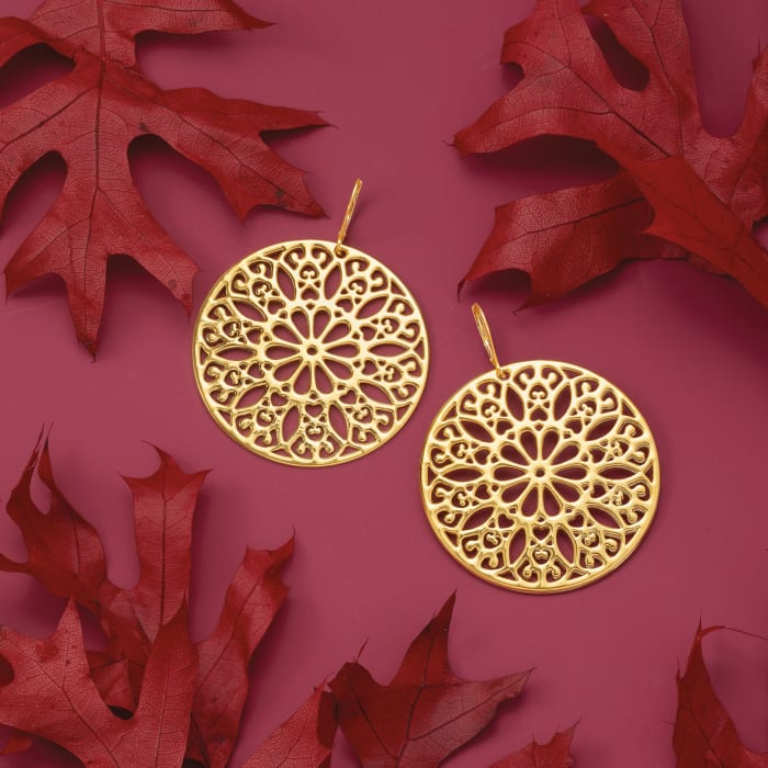 Italian Andiamo 14kt Yellow Gold Over Resin Floral Disc Drop Earrings