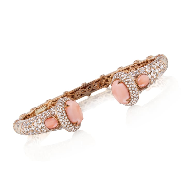 Pink Coral and 3.70 ct. t.w. Diamond Bangle Bracelet in 18kt Rose Gold