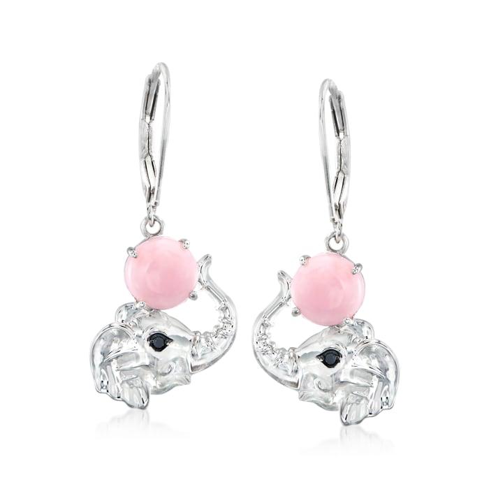 Pink Opal Elephant Drop Earrings in Sterling Silver