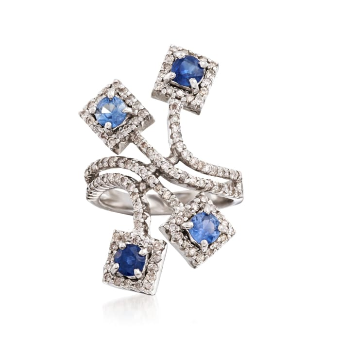 C. 2000 Vintage 1.40 ct. t.w. Sapphire and 1.00 ct. t.w. Diamond Spray Ring in 18kt White Gold