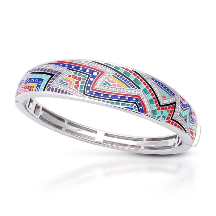 "Belle Etoile ""Carnival"" Multicolored Enamel and 2.40 ct. t.w. CZ Bangle Bracelet in Sterling Silver"