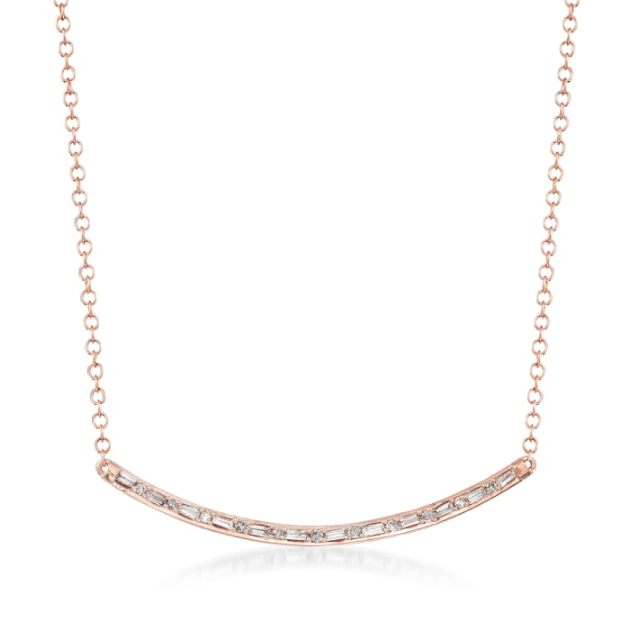 .18 Diamond Curved Bar Necklace in 14kt Rose Gold
