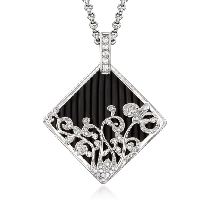 """Belle Etoile """"Andante"""" Black Rubber and .36 ct. t.w. CZ Pendant in Sterling Silver"""