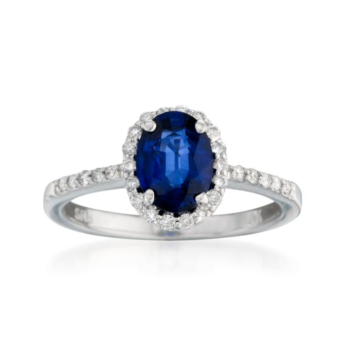 1.50 Carat Sapphire and .20 ct. t.w. Diamond Ring in 14kt White Gold