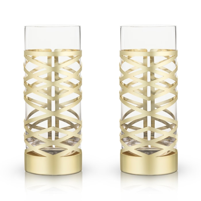 Set of 2 Gold and Crystal Highball Glasses