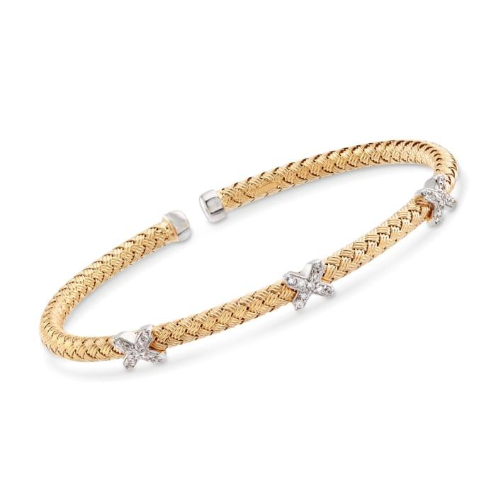 "Charles Garnier ""Bassano"" .25 ct. t.w. CZ X Station Cuff Bracelet in Two-Tone Sterling Silver"
