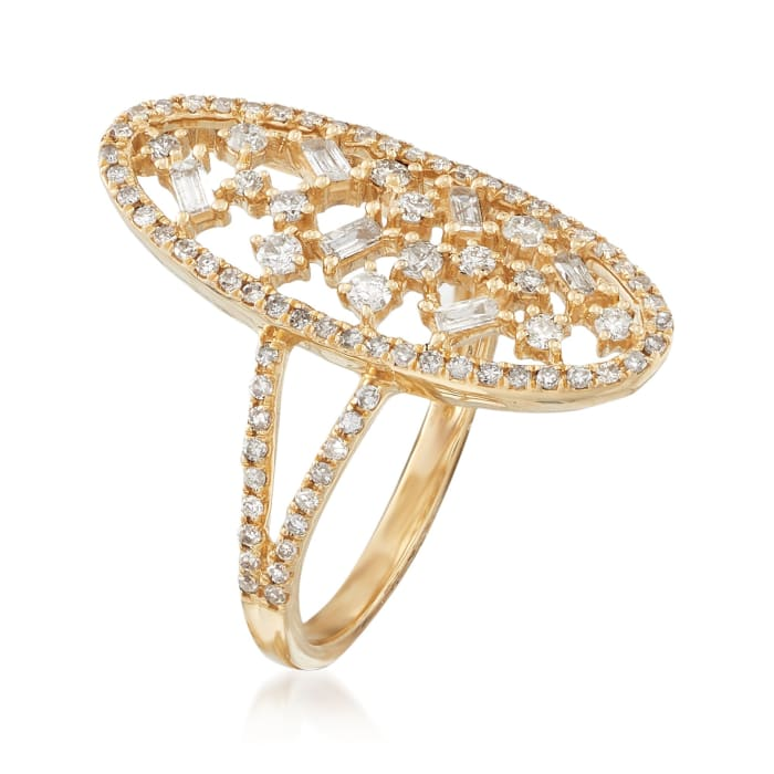 .69 ct. t.w. Diamond Open Oval Ring in 14kt Yellow Gold