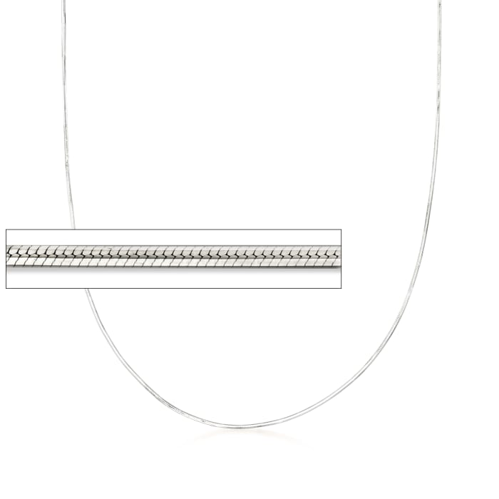 .8mm 14kt White Gold Adjustable Snake Chain Necklace