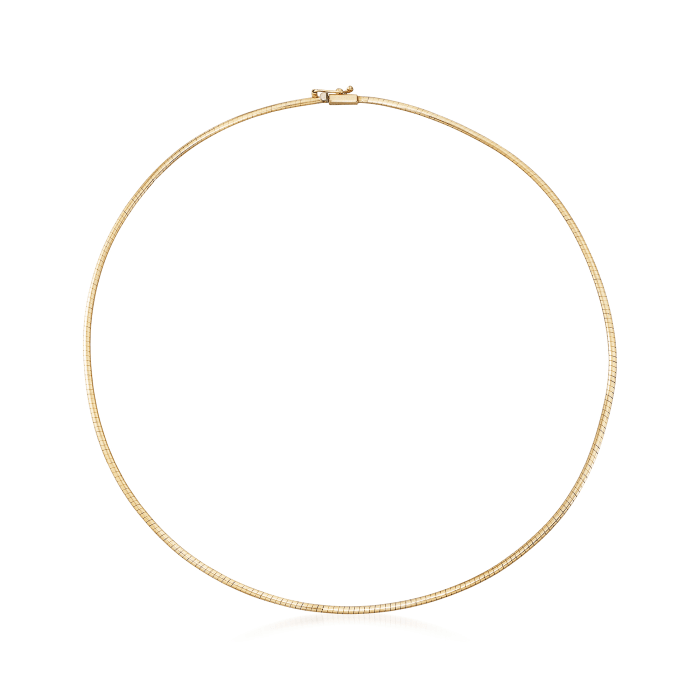 Italian 2mm 14kt Yellow Gold Omega Necklace