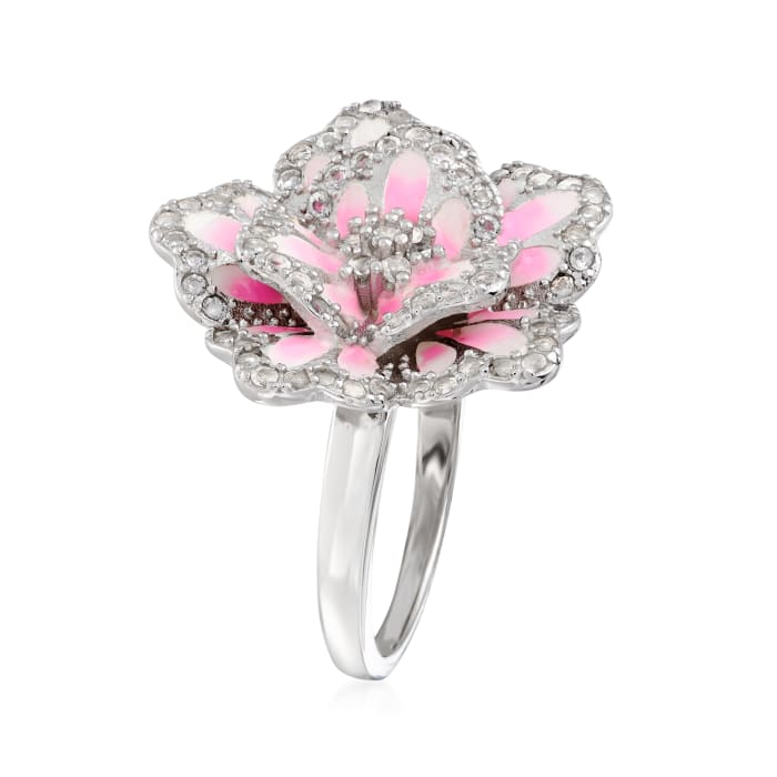 .80 ct. t.w. White Topaz and Multicolored Enamel Flower Ring in Sterling Silver