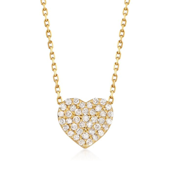 .25 ct. t.w. Diamond Heart Necklace in 14kt Yellow Gold