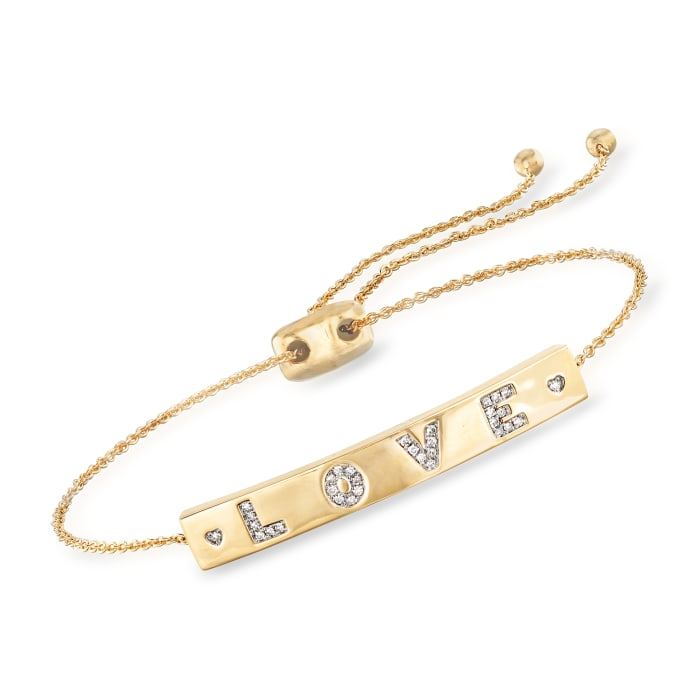 ".10 ct. t.w. Diamond ""Love"" Bolo Bracelet in 18kt Gold Over Sterling"