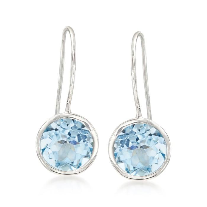 8.00 ct. t.w. Blue Topaz Drop Earrings in Sterling Silver