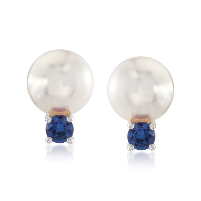 """Mikimoto """"Everyday Essentials"""" 7.5-8mm A+ Akoya Pearl and .26 ct. t.w. Sapphire Earrings in 18kt White Gold"""
