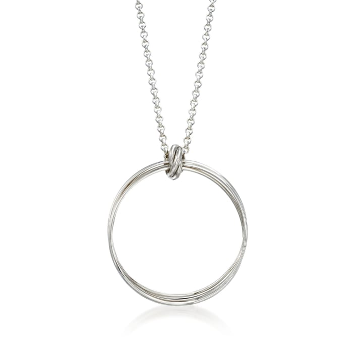 "Zina Sterling Silver ""Contemporary"" Rolling Ring Pendant Necklace"