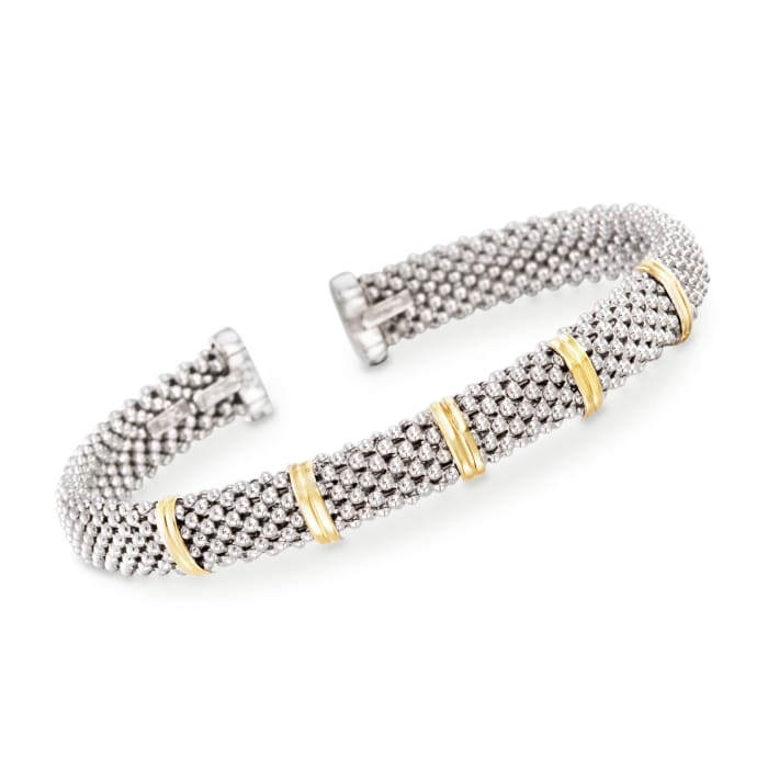 "Phillip Gavriel ""Popcorn"" Sterling Silver and 18kt Gold Cuff Bracelet"