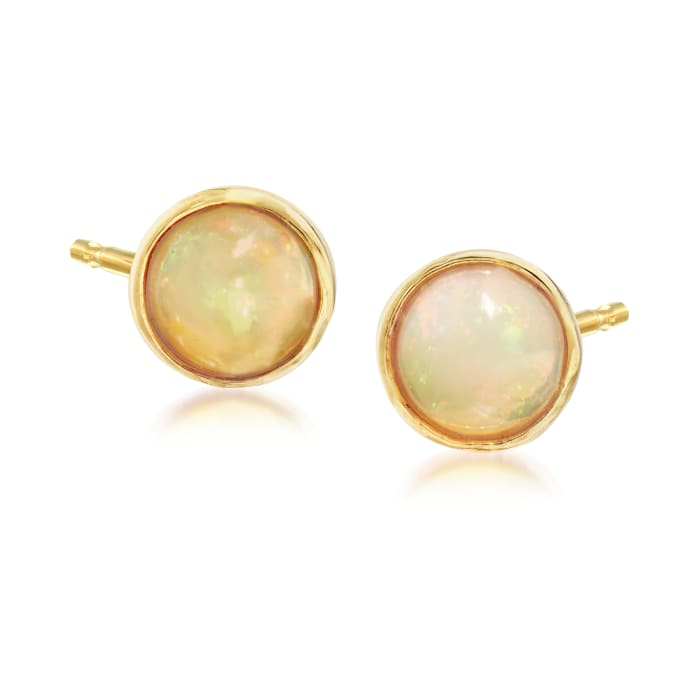 Opal Stud Earrings in 18kt Gold Over Sterling