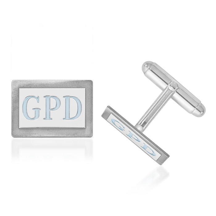 Sterling Silver Rectangular Monogram Cuff Links with Bright Teal Enamel