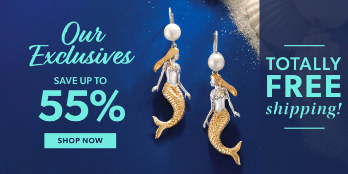 Our Exclusives. Save Up To 55%. Totally Free Shipping. Shop Now. Image Featuring Mermaid Earrings on Deep Blue Background With Shells and Sand