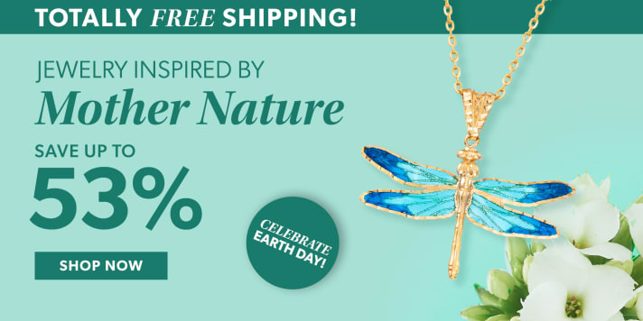 Totally Free Shipping! Jewelry Inspired By Mother Nature. Save Up To 53%. Celebrate Earth Day! Shop Now. Image Featuring Dragon-Fly Necklace on Blue Background With White Flowers