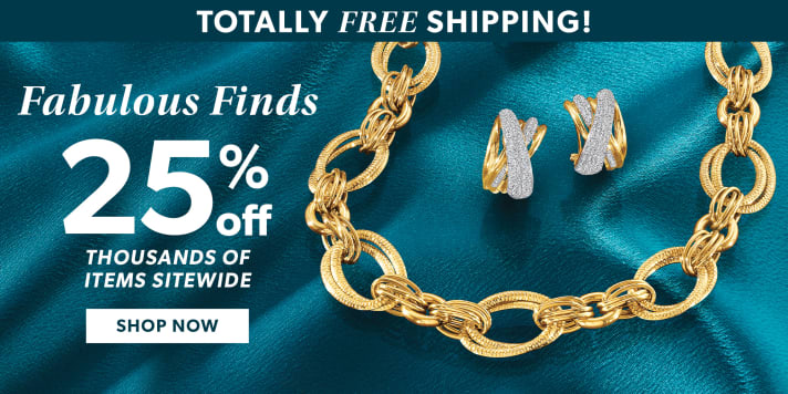 Totally Free Shipping! Fabulous Finds 25% Off Thousands of Items Sitewide. Shop Now. Image Featuring Gold Necklace and Earrings on Blue Background