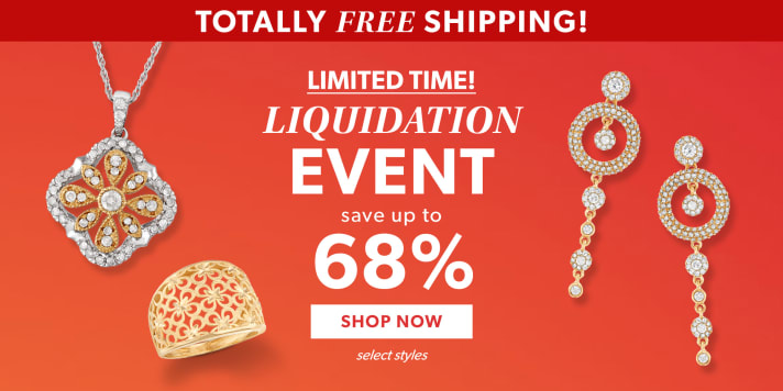 Totally Free Shipping! Limited Time! Liquidation Event. Save Up To 68%. Shop Now. Select Styles. Image Featuring Gold And Diamond Jewelry on Deep Red Background