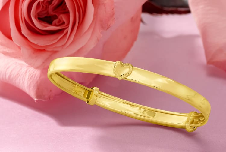 gold baby bangle with heart